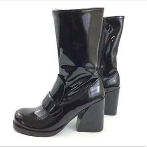 JEFFREY CAMPBELL Black Patent Leather Chunky Boots